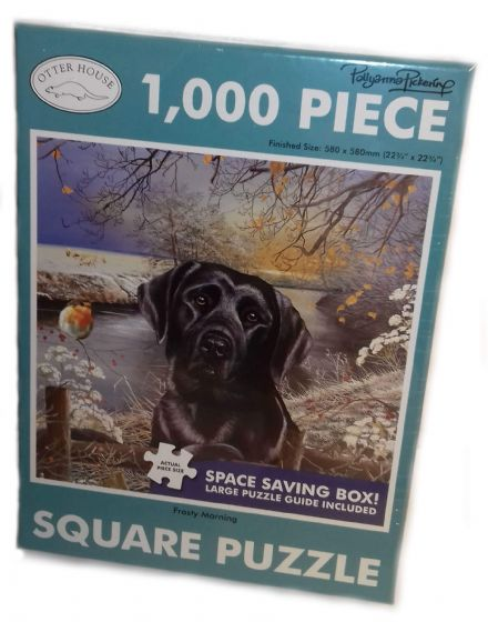 Frosty Morning Black Labrador Square 1000 Piece Jigsaw
